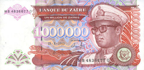 P45 Zaire 1.000.000 Zaires (VERY RARE) No Date & Sign.