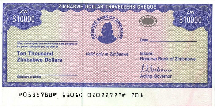 P17 Zimbabwe 10.000 Dollars Year 2004 (With Stamp)