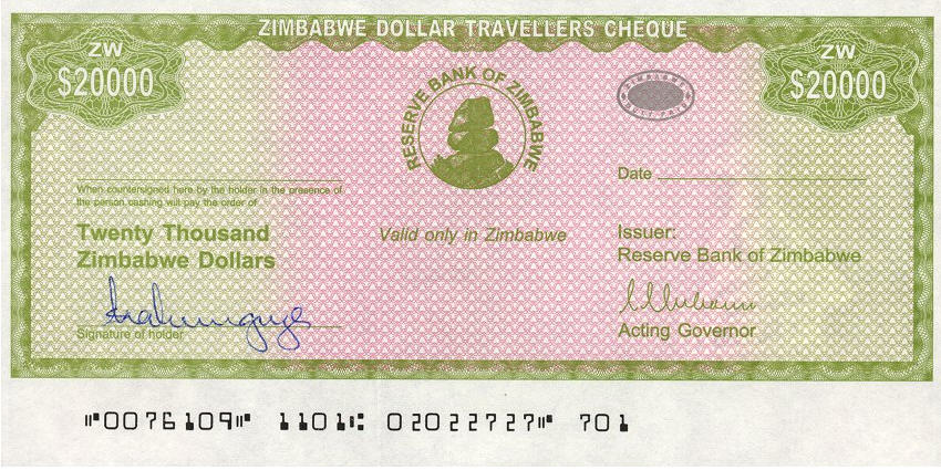 P18 Zimbabwe 20.000 Dollars Year 2004 (With Stamp)