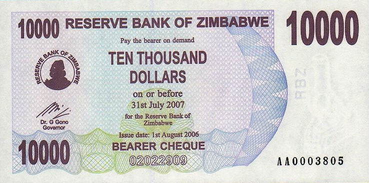 P46a Zimbabwe Bearer Cheque 10.000 Dollars Until 2007 (Without S