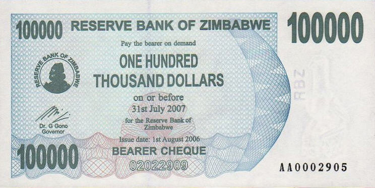 P48a Zimbabwe Bearer Cheque 100.000 Dollars Until 2007 (Without