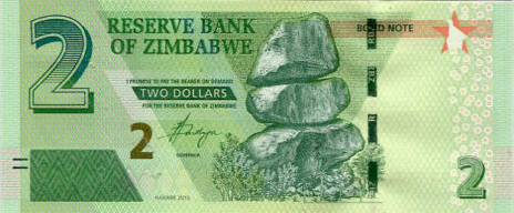 (243) Zimbabwe P100 - 2 Dollars Year 2016 (Bond Note)