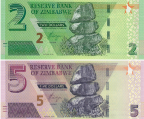 (172) ** PNew Zimbabwe 2 & 5 Dollars Year 2019 (Set of 2)