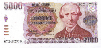 P318 Argentina 5000 Pesos Year nd
