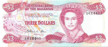 P44 Bahamas 3 Dollar Year 1984