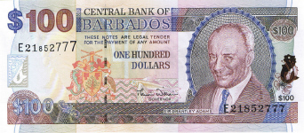 P71 Barbados 100 Dollars Year 2007