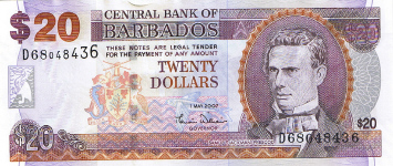 P69a Barbados 20 Dollars Year 2007