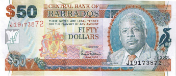 P70 Barbados 50 Dollars Year 2007