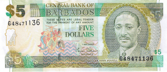 P67a Barbados 5 Dollars Year 2007