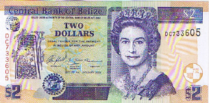 P66 Belize 2 Dollar Year 2005