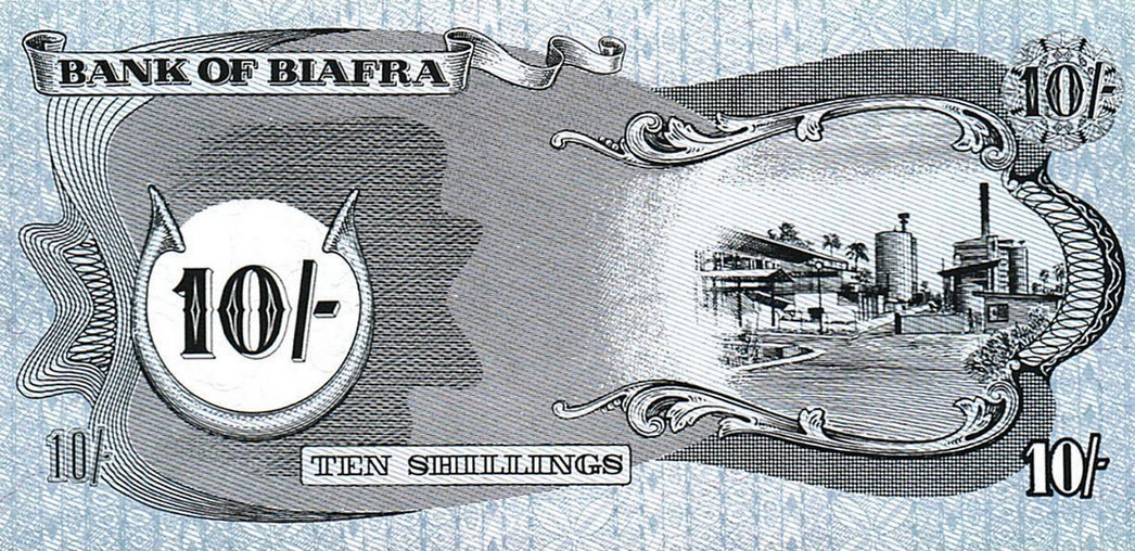 P4 Biafra 10 Shillings Year 1968