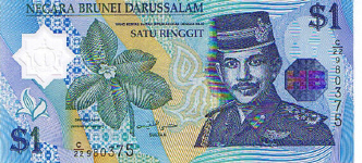 P22 Brunei 1 Dollar Year 1996 Polymer