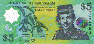 P23 Brunei 5 Dollar Year 2002 POLYMER