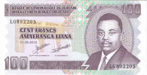 P44a/b Burundi 100 Francs Year 2010/2011 (small)