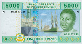 P309 M Central African Rep.  5000 Francs Year 2002