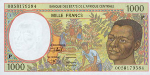 P602 P Chad  1000 Francs Year 2000