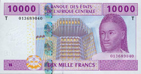 P110 T Congo Republic 10.000 Francs Year 2002