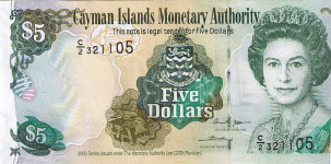 P34b Cayman Islands 5 Dollar Year 2005