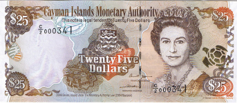P36 Cayman Islands 25 Dollars Year 2006