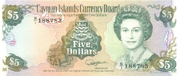 P12 Cayman Islands 5 Dollar Year 1991