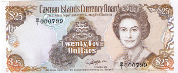 P14 Cayman Islands 25 Dollars Year nd