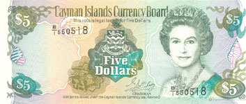P17 Cayman Islands 5 Dollar Year 1996