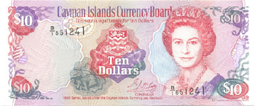 P18 Cayman Islands 10 Dollar Year 1996