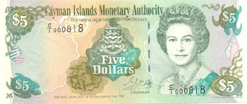 P22 Cayman Islands 5 Dollar Year 1998