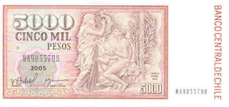 P155e Chile 5000 Pesos year 2005