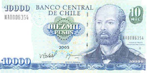 P157c Chile 10.000 Pesos year 2005