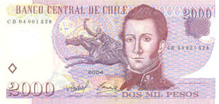 P160 Chile 2000 Pesos year 2004 Polymer