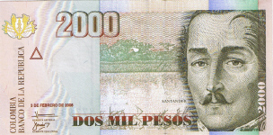 P457 Colombia 2000 Pesos Year 2006