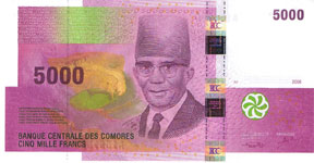 P18 Comores 5000 francs year 2006