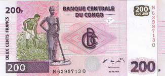 P 95 Congo Dem. Rep. 200 Francs Year 2000 (Gieseke sign)