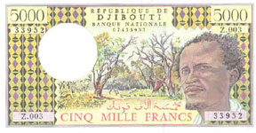 P38d Djibouti 5000 Francs Year nd