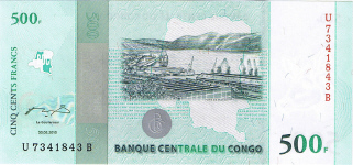 P100 Congo Dem. Rep. 500 Francs Year 2010