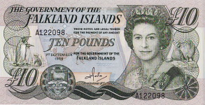 P14 Falkland Islands 10 Pounds Year 1986