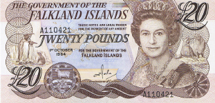 P15 Falkland Islands 20 Pounds 1984
