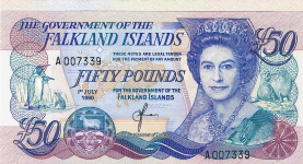 P16 Falkland Islands 50 Pounds 1990
