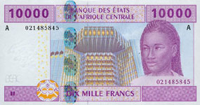 P410 A Gabon 10.000 Francs Year 2002