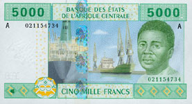 P409 A Gabon  5000 Francs Year 2002