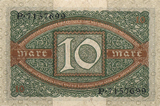 P 67a Germany 10 Mark Year 1920