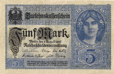 P 56a Germany 5 Mark Year 1917