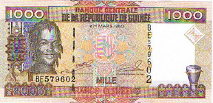 P40 Guinea 1000 Francs Year 2006
