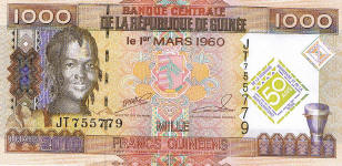 P43 Guinea 1000 Francs Year 2010