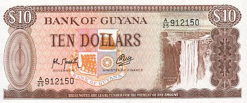 P23f Guyana 10 Dollar Year nd