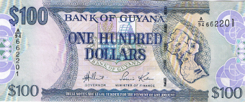 P36a Guyana 100 Dollars year nd (2006)