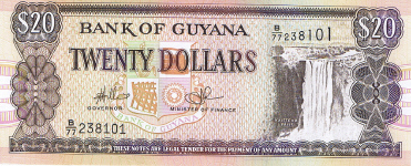 P30e Guyana 20 Dollars year 2008