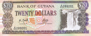 P27 Guyana 20 Dollar Year nd