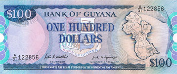 P28 Guyana 100 Dollar Year nd